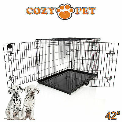 £65.99 • Buy Dog Cage 42 Inch Puppy Crate XL Cozy Pet Black Dog Crates Folding Metal Cages