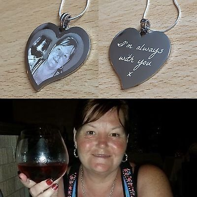 Personalised Photo/Text Engraved Heart Necklace & Pendant Wedding Birthday Gift  • 15£