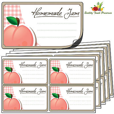 32 Large Peach Jam Jar Labels. Luxury Self Adhesive Stickers For Preserves • 3.95£