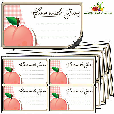 64 Large Peach Jam Jar Labels. Luxury Self Adhesive Stickers For Preserves • 4.95£
