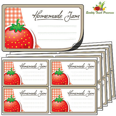 64 Large Strawberry Jam Jar Labels. Luxury Self Adhesive Stickers For Preserves • 4.95£