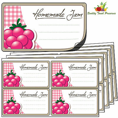 64 Large Raspberry Jam Jar Labels. Luxury Self Adhesive Stickers For Preserves • 4.95£