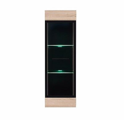£114.95 • Buy Wall Glass Display Cabinet Cupboard Unit Sonoma Oak Finish LED Lights Fever NEW