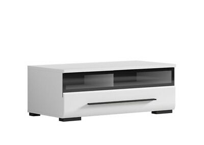 White Gloss TV Cabinet TV Unit Entertainment Stand Glass Drawer Black Rim Fever • 124.95£