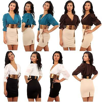 New Ladies Two Tone Colored Rope Tie Belted Party Dress 8-14 • 24.99£