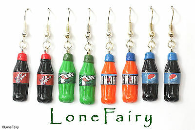 Polymer Clay Soda Bottle Silver Plated Drink Earrings Junk Food Jewellery Iron • 3.95£