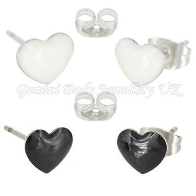 Heart Surgical Steel Stud Earrings Sold In Pairs (Fits Standard Ear Piercing) • 1.99£