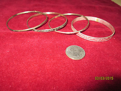 $ CDN92.26 • Buy Vintage 4 Piece Lot Of Sterling Silver Bangle Bracelets Unique Mexican Variety