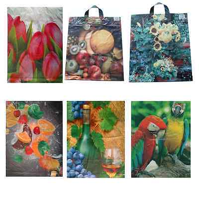 STRONG LARGE PLASTIC CARRIER SHOPPING BAGS 18 X15  CARRIER COLOURFUL DESIGNS • 6.50£