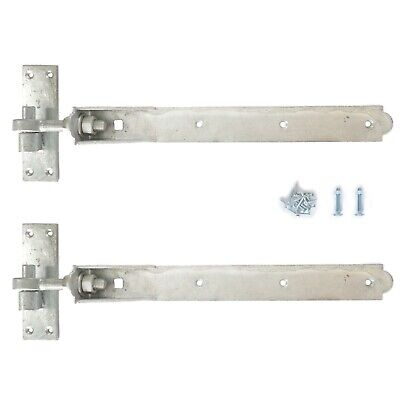 £13.45 • Buy Adjustable Gate Hinges Pair 10  Or 12  Galv Steel Heavy Duty Gates Hook And Band