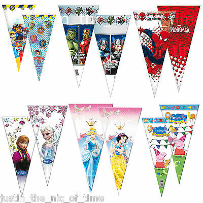 £3.07 • Buy CONE Party Cello Bags Sweet Candy Cones Childrens Kids Birthday Gift Favours Bag
