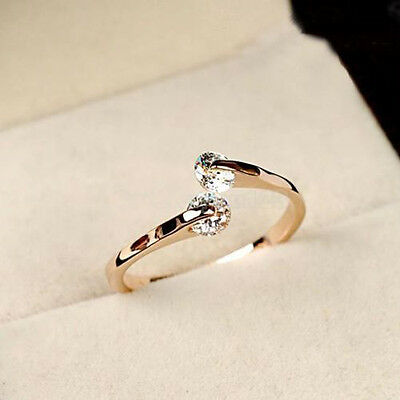AU1.13 • Buy Elegant Women Jewelry Rose Gold Plated Crystal Engagement Wedding Party Ring