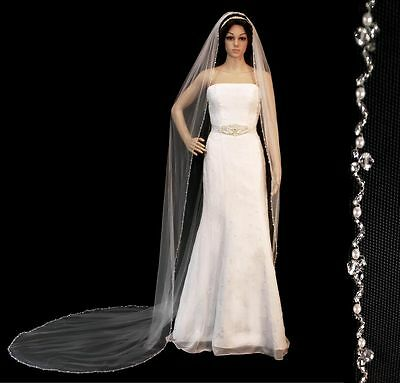 £79.74 • Buy Crystal Pearl Beaded Edge Cathedral Bridal Wedding Veil White Ivory Or Champagne