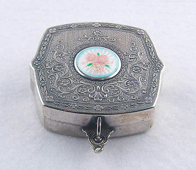 Antique Silver Guilloche Rose Enamel Compact With Mirror • 214.92£