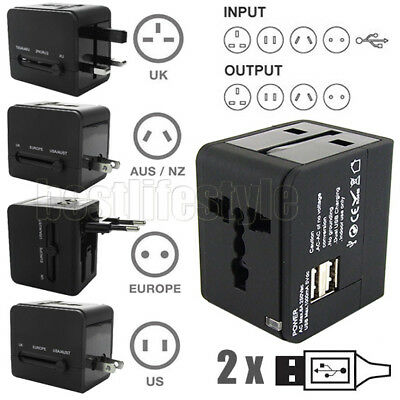 AU15.95 • Buy Travel Adapter Universal Adaptor 2 USB International Charger Plug Converter