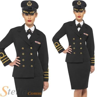 WW2 Navy Officer Costume 1940s Sailor Uniform Womens Ladies Fancy Dress Outfit • 28.99£