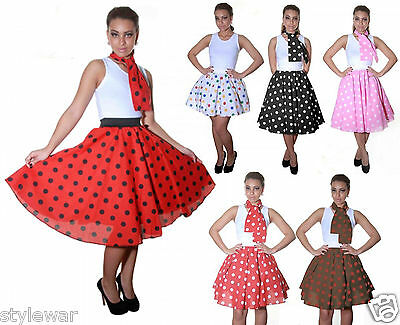 LADIES PINK,RED BLACK POLKA DOT ROCK AND ROLL 50s SKIRT & SCARF FANCY DRESS 22  • 10.25£