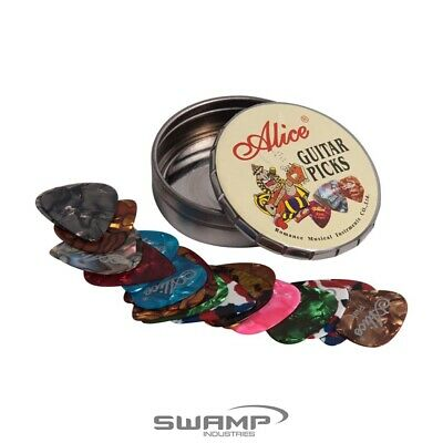 $ CDN9.81 • Buy Set Of 20x Alice Guitar Picks - Variety Pack - Celluloid - Round Tin