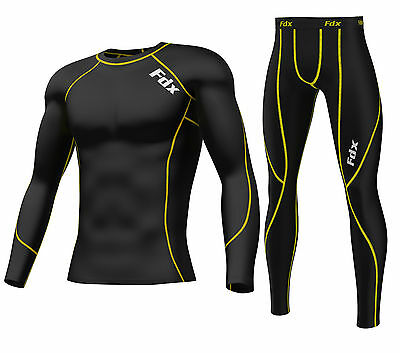 AU26.99 • Buy FDX Mens Compression Armour Base Layer Top Skin Fit Shirt + Leggings / Pants Set