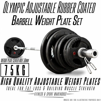 AU435 • Buy 75KG Olympic Bar Weights Set 7ft OLY Barbell Rubber Coat Weight Plates Solid