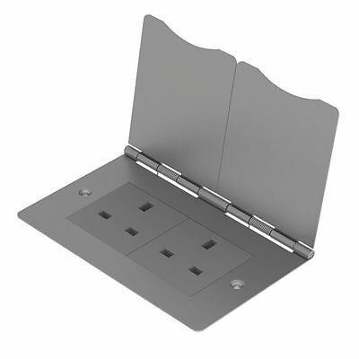 NEW BG 2-Gang Unswitched Brushed Steel Floor Socket • 29.99£
