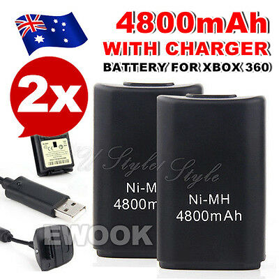 AU26.95 • Buy 2x For Xbox 360 Battery Charger Pack USB Wireless Rechargeable Controller