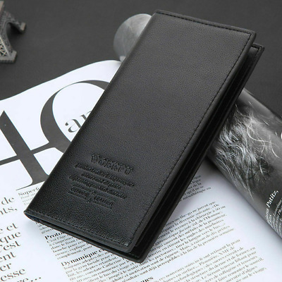 $9.99 • Buy Mens Slim Genuine Leather Long Bifold Wallets Case With Multi Cards Holders US