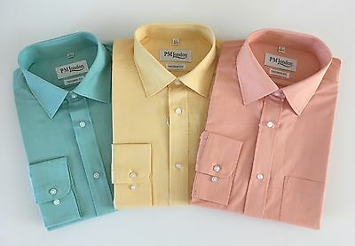 £12.95 • Buy Mens Shirt 100% Cotton Formal Shirt Work Shirts Tailored Fit One Pocket 15.5-18