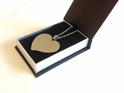 Personalised Photo/Text Engraved Flared Heart Necklace Pendant Luxury Gift Box • 14.95£