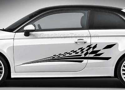 Car Body Stickers Racing Checker Flag Side Stripe Custom Graphic Decals • 29.99£
