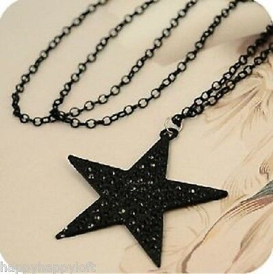 Funky Black Star Necklace Pendant Long Chain Retro Indie Emo Gothic Fashion • 2.99£