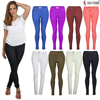£3.99 • Buy New Ladies Skinny Fit Coloured Stretchy Jeans Womens Jeggings Trousers Size 8-20