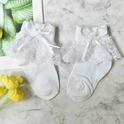 £4 • Buy Girls-white Lace Ankle Socks-ribbon Bows-bridesmaid-special Occasion-flowers