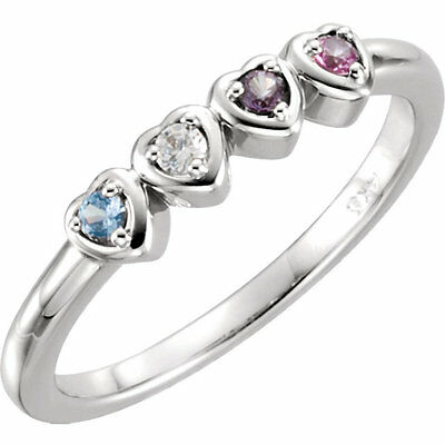 $75 • Buy Mother's Day Jewelry Heart Ring Sterling SILVER Birthstone Ring 1-5 Stones