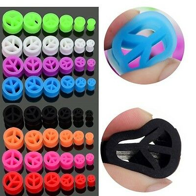 $5.99 • Buy Pair Soft  PEACE Silicone Ear Tunnels Plugs Gauges Earskin Earlets 2g - 5/8