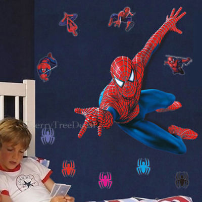 HUGE 110*90cm SPIDERMAN Wall Stickers Children Boys Bedroom Mural Wallpaper Art • 8.99£