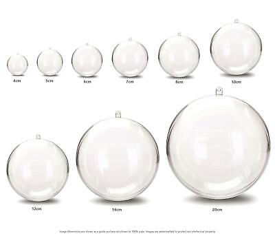 JfM ALL SIZES Clear Plastic Craft Ball Acrylic Transparent Sphere Bauble • 11.95£