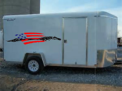 $ CDN130.50 • Buy American Flag & Horse Trailer Enclosed Trailer Graphic Decal  20x90   Set Of 2