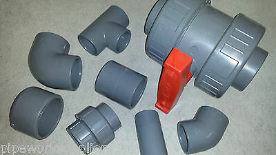 ABS SOLVENT WELD PIPE FITTING - 3/8  To 8  PRESSURE PLASTIC  INDUSTRIAL SWIMMING • 1.44£