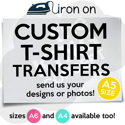 £1.79 • Buy Custom Iron On T-Shirt Transfer A5 Your Image Photo Design Personalised Hen Stag
