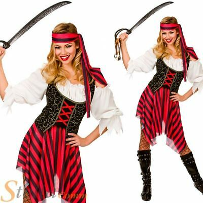 Ladies Pirate Fancy Dress Costume High Seas Caribbean Wench Outfit Size 6-28 • 13.49£