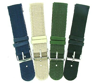 £4.95 • Buy Nylon 2pc Military Style Watch Strap 18mm/20mm/22mm With Free Fitting Pins