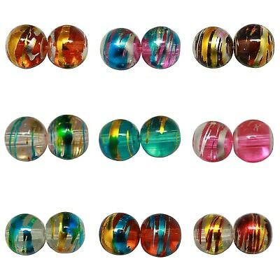 ❤ Round DRIZZLE Glass Drawbench Beads CHOOSE COLOUR & SIZE 4mm, 6mm, 8mm UK ❤ • 0.99£