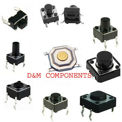 Quality Tactile Push Button  SPST Miniature/Mini/Small PCB Switch/Various Sizes • 1.75£