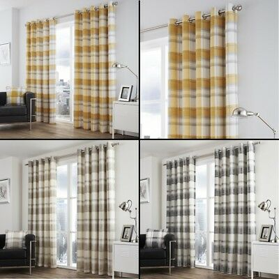 Check Striped Ring Top Lined Pair Eyelet Curtains Grey Natural Ochre Yellow • 22.99£