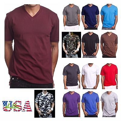 $8.99 • Buy  Men's HEAVY WEIGHT V-Neck T-Shirt Lot Plain Tee BIG And Tall Comfy Camo Hipster