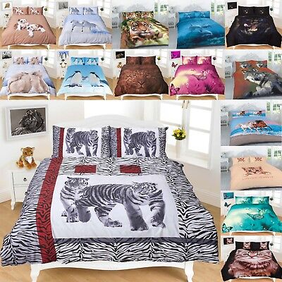 AU40 • Buy 3D Animal Print Duvet Quilt Cover Set With Pillowcase Single Double Super King