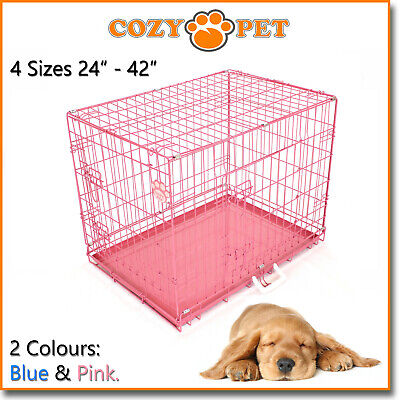 £29.99 • Buy Dog Cage In Pink And Blue Cozy Pet Dog Crate Puppy 4 Sizes Folding Cat Crate