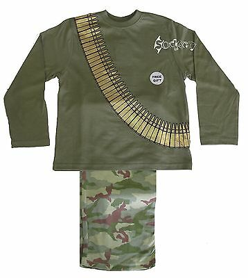 Boys Army Camouflage Bullet Belt Long Pyjamas Ages 3-10 Years Soldier • 5.99£