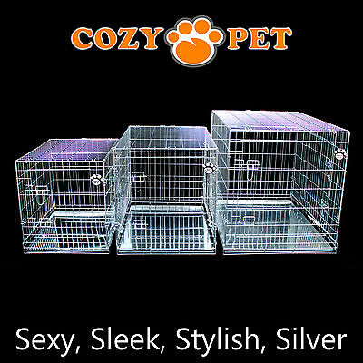 £32.99 • Buy Dog Cage Cozy Pet Puppy Crate Silver 5 Sizes Travel Crate Cat FREE 48H Delivery